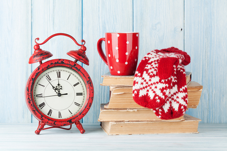 Christmas alarm clock, mittens and hot chocolate