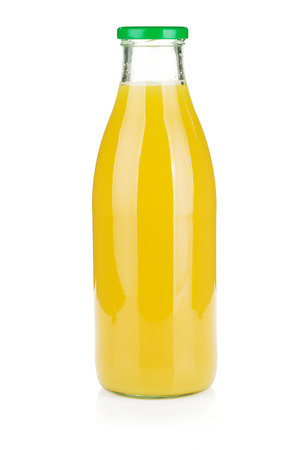 Glass bottle of pineapple juice. Isolated on white 스톡 콘텐츠