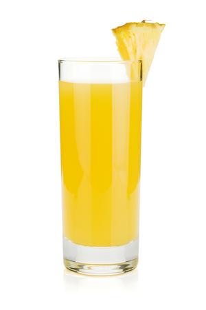 Pineapple juice in a glass. Isolated on white background Stok Fotoğraf