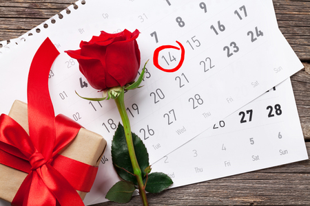 Valentines day greeting card. Red rose flower and gift box over february calendar on wooden table. Top view