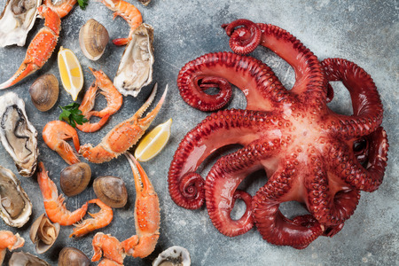 Seafood. Octopus, oysters, lobster, clams. Top view on stone table Archivio Fotografico - 96379365