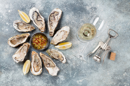 Fresh oysters and white wine on stone table. Top view Stockfoto - 96757619