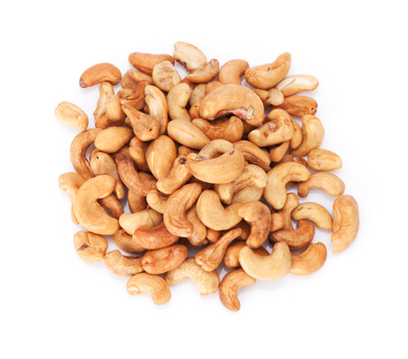 Cashew nuts. Isolated on white background. Top view