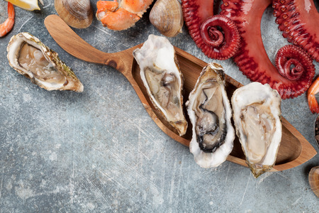 Seafood. Octopus, oysters, lobster, clams. Top view on stone table with space for your text