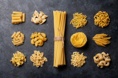 Various pasta. Cooking concept. Top view