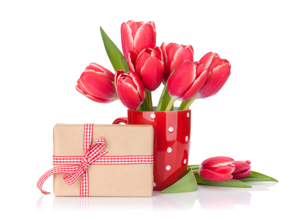 Red tulip flowers bouquet and gift box. Valentines day or Easter greeting card. Isolated on white background