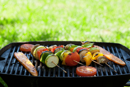 Grilled vegetables cooking. With copy space