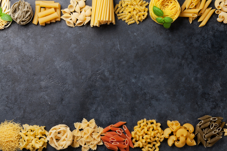Various pasta. Cooking concept. Top view with space for your text Stok Fotoğraf