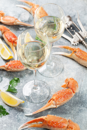 Seafood. Oysters, lobster, clams and white wine Stok Fotoğraf