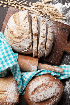 Various crusty bread and buns cooking. Top view Stockfoto