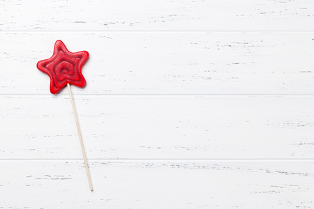 Star shaped lollipop.  Top view with space for your text