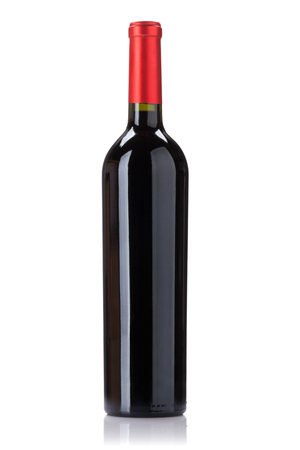 Red wine bottle. Isolated on white background
