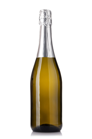 Champagne wine bottle. Isolated on white background Foto de archivo