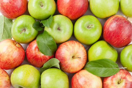 Ripe green and red apples closeup. Top view