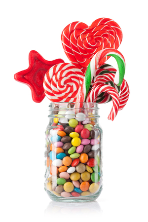 Colorful sweets. Lollipops and candies. Isolated on white background Stock Photo