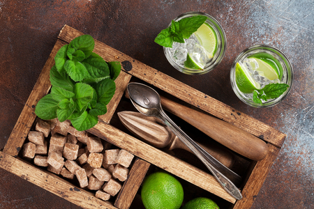 Mojito cocktail ingredients and bar accessories box. Top view