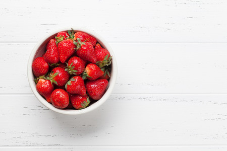 Fresh summer berries. Strawberry. Top view with space for your text Zdjęcie Seryjne