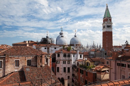 Panorama view of the roofs of Venice, Italy. St Marks bell tower (San Marco Campanile)