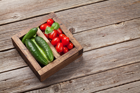Vegetables in wooden box. Cucumber, tomato and basil. With space for your text