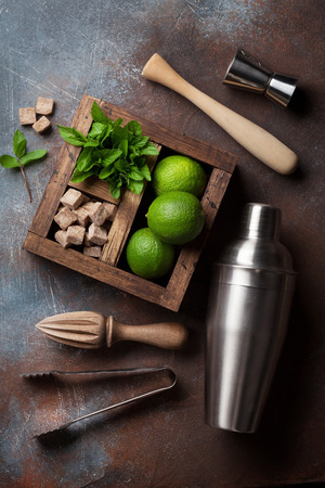 Mojito cocktail ingredients and bar accessories box on stone table. Top view Stock Photo