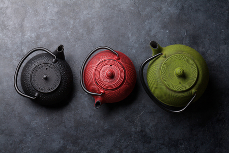 Various tea pots. Top view with space for your text Stok Fotoğraf