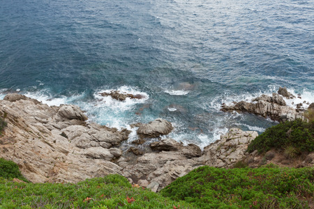 Seascape bay lagoon with mountains. Mediterranean Sea, Spain.