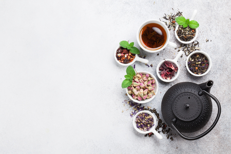Various tea and teapot. Black, green and red tea. Top view with space for your text Stok Fotoğraf