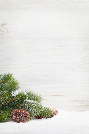 Christmas fir tree covered by snow in front of wooden wall. View with copy space Stock Photo