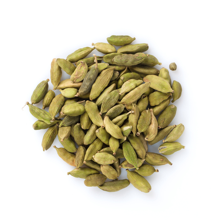 Green cardamom spice. Isolated on white background