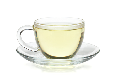 Green tea in glass cup. Isolated on white background 스톡 콘텐츠