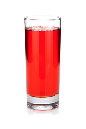 Glass of cherry juice. Isolated on white background Stock Photo