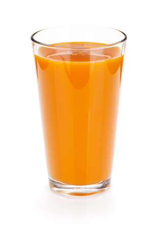 Fresh carrot juice glass. Isolated on white background