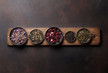 Various tea. Black, green and red tea. Top view with space for your text