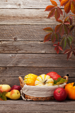 Autumn still life card with pumpkins, apples, pears and colorful leaves in front of wooden wall. With space for your text