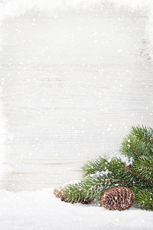 Christmas fir tree covered by snow in front of wooden wall. Xmas background with copy space