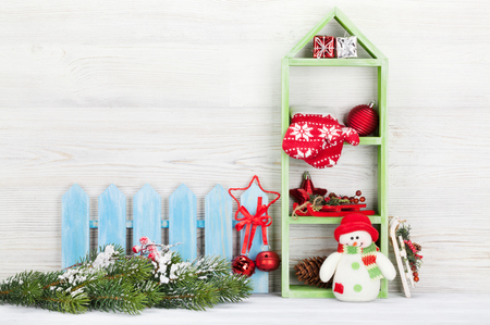 Christmas snowman toy and decor. Xmas backdrop with copy space