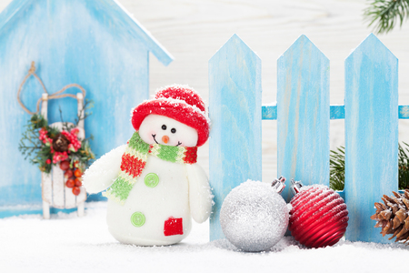 Christmas snowman toy and decor. Xmas greeting card
