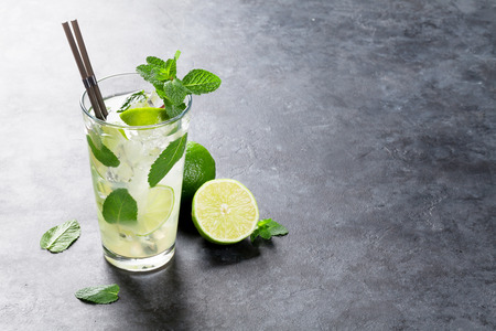 Mojito cocktail on dark stone table. With copy space for your text Stock Photo