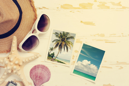 Travel vacation backgroun  Flat lay. All photos taken by me. Sunny toned Stock Photo