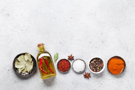 Set of various spices and herbs on stone background. Top view with space for your recipe. Flat lay 写真素材 - 115379388