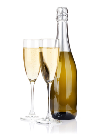 Champagne bottle and glasses. Isolated on white background