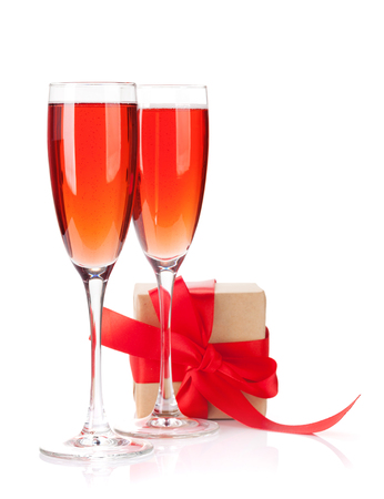 Valentines day gift box and rose champagne glasses. Isolated on white background 版權商用圖片