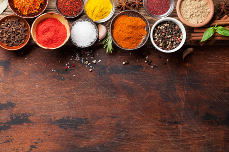 Set of various spices and herbs on wooden background. Top view with space for your recipe. Flat lay 写真素材 - 115585907