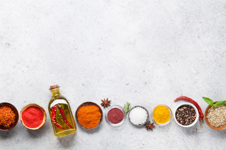 Set of various spices and herbs on stone background. Top view with space for your recipe. Flat lay 写真素材 - 115988427