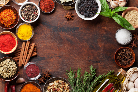 Set of various spices and herbs on wooden background. Top view with space for your recipe. Flat lay 写真素材 - 116246738