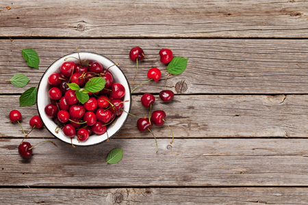 Fresh summer berries. Cherry. Top view with space for your text
