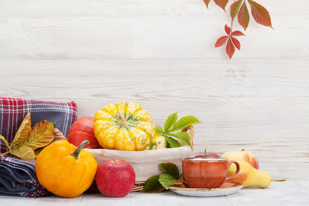 Autumn still life with pumpkins, apples, pears and colorful leaves. With space for your text Stock Photo