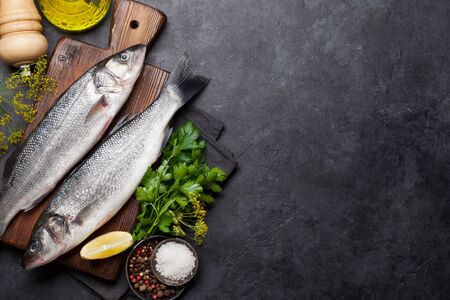Fresh seafood. Trout fish with herbs and spices on a stone background. Top view flat lay. With copy space for your text