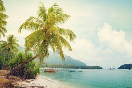 Playa tropical con palmeras y arena brillante. Concepto de viaje y vacaciones de verano en el mar. Tonos soleados