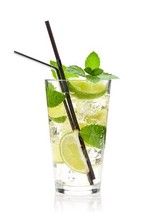 Mojito cocktail glass. Isolated on white background